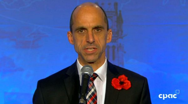 Steven Blaney, pictured, took issue with fellow Quebecer Maxine Bernier's stance against supply management in the agricultural industry. Screenshot courtesy of CPAC