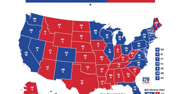 The Glass Ceiling Is About To Come Down The Hill Times - Us-electoral-map-prediction