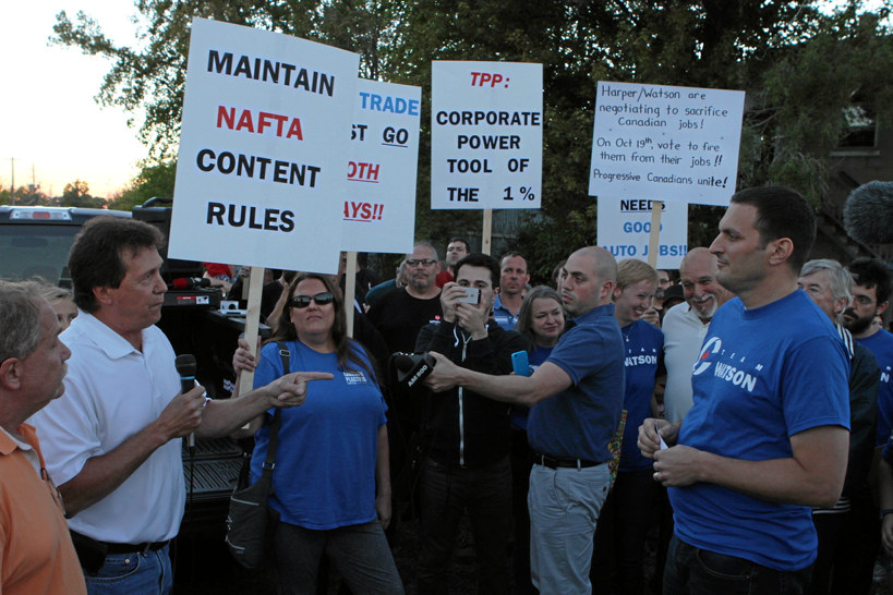 A Windsor chapter of the Unifor labour group protested the Trans-Pacific Partnership, negotiated by the previous Conservative government, and the local Conservative candidate for Essex, Jeff Watson, in the month before the 2015 election. Mr. Watson was defeated by NDP MP Tracey Ramsey, a union ally and TPP opponent. Photograph courtesy of Unifor.