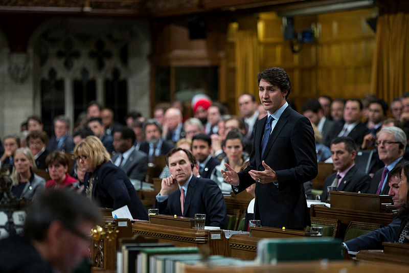 Prime Minister fields a question during Question Period earlier this year.  The House will resume sitting on Sept. 18. PMO photograph.